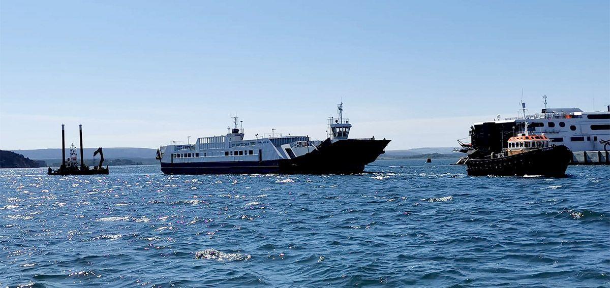 Sandbanks Ferry on tow