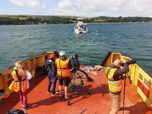 reporter briony leyland interview in studland on tugboat polmear