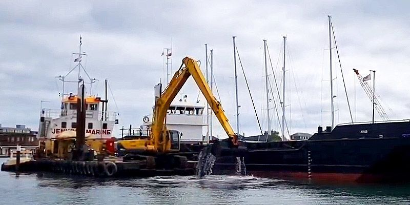 dredging underway at Haslar Marina